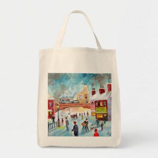 Busy street scene winter train oil painting art bag