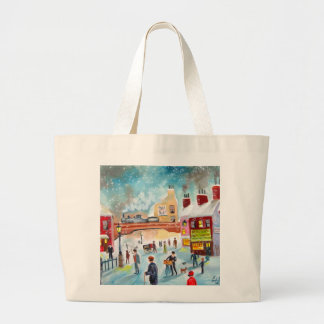 Busy street scene winter train oil painting art canvas bags