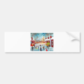 Busy street scene winter train oil painting art bumper sticker
