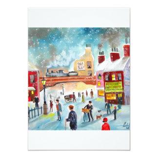 Busy street scene winter train oil painting art card