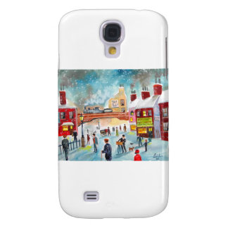 Busy street scene winter train oil painting art galaxy s4 cover