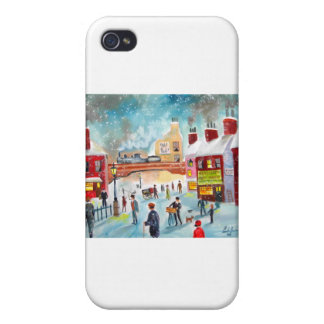 Busy street scene winter train oil painting art iPhone 4 cover