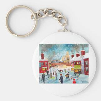 Busy street scene winter train oil painting art key chain