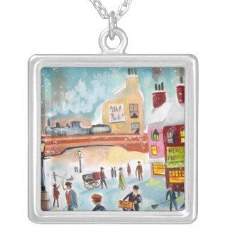 Busy street scene winter train oil painting art jewelry