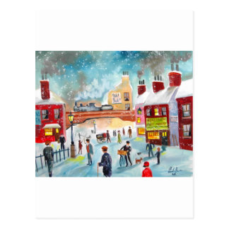 Busy street scene winter train oil painting art postcard
