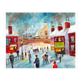 Busy street scene winter train oil painting art postcard