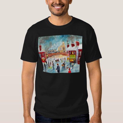 Busy street scene winter train oil painting art t-shirt
