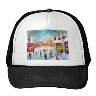 Busy street scene winter train oil painting art trucker hat