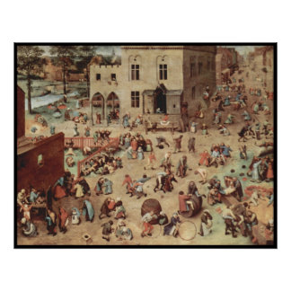 Busy town scene poster