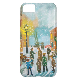 Busy village snow street scene iPhone 5C case