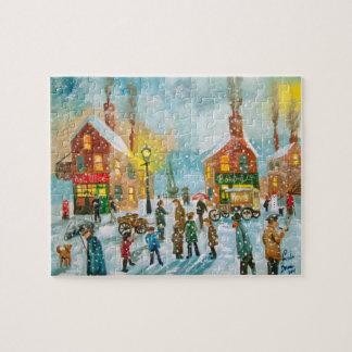 Busy village snow street scene jigsaw puzzle
