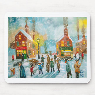 Busy village snow street scene mouse pad