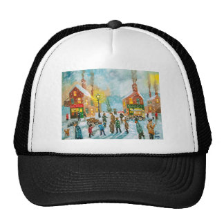 Busy village snow street scene trucker hat