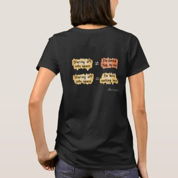 Professional Business Busy Working Women's Black T-Shirt (D on Back)