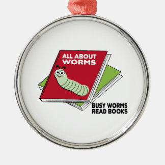 Busy Worms Read Books Round Metal Christmas Ornament