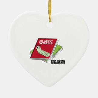 Busy Worms Read Books Double-Sided Heart Ceramic Christmas Ornament