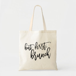 But First Brunch Typography Quote Tote Bag