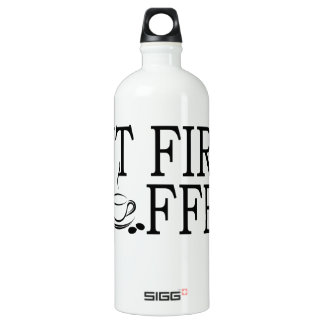 But First Coffee Coffe Lover T-Shirt '.png Aluminum Water Bottle