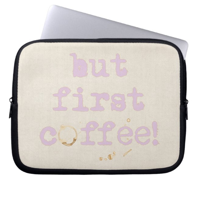 But first coffee Fun typography with coffee stain