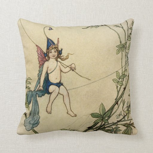 But Puck was Seated on a Spider's Thread Throw Pillows