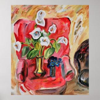 Butaca con las flores de Vasile Movileanu Póster