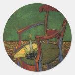 Butaca de Van Gogh Paul Gauguin, arte del vintage Pegatina Redonda