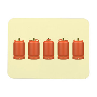 Butane gas cylinders in rotation rectangular photo magnet