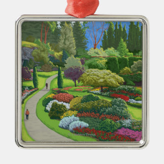 Butchart Gardens - Brentwood Bay Square Metal Christmas Ornament
