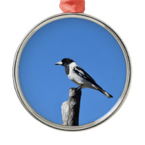 BUTCHER BIRD ON A POST IN RURAL AUSTRALIA METAL ORNAMENT