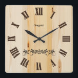 """Butcher Block Wood Style Clock 