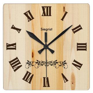 Butcher Block Wood Style Clock | Zazzle
