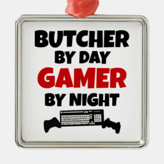 Butcher by Day Gamer by Night Square Metal Christmas Ornament