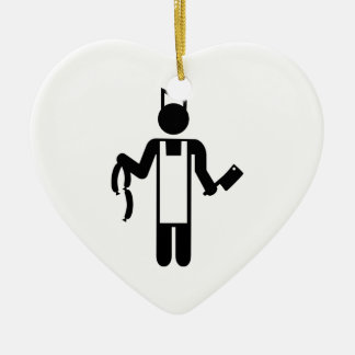 Butcher Double-Sided Heart Ceramic Christmas Ornament