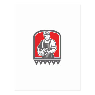 Butcher Holding Leg of Meat Retro.png Post Card