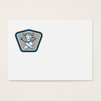 Butcher Knife Cow Head Shield Business Card