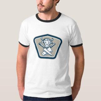 Butcher Knife Cow Head Shield T-Shirt