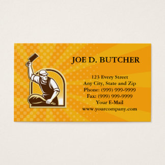 Butcher Knife Leg of Ham Retro Business Card