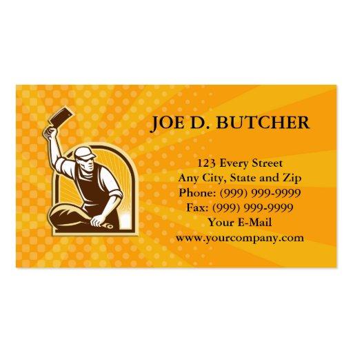 Butcher Knife Leg of Ham Retro Business Cards