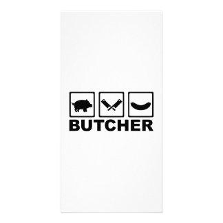 Butcher pig cleaver sausage custom photo card