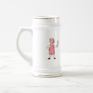 Butcher Pig Holding Meat Cleaver Cartoon Beer Stein