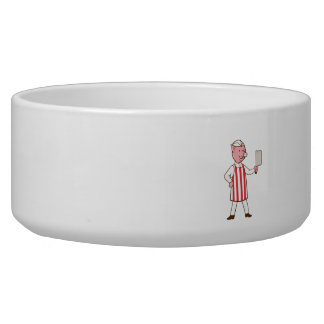 Butcher Pig Holding Meat Cleaver Cartoon Bowl