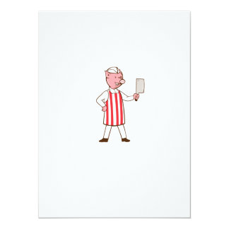 Butcher Pig Holding Meat Cleaver Cartoon Card