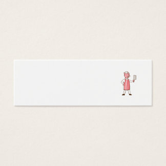 Butcher Pig Holding Meat Cleaver Cartoon Mini Business Card