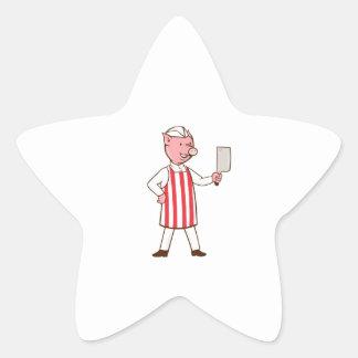 Butcher Pig Holding Meat Cleaver Cartoon Star Sticker