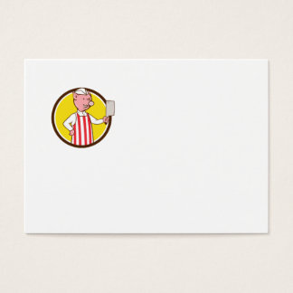 Butcher Pig Holding Meat Cleaver Circle Cartoon Business Card