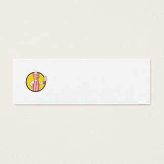 Butcher Pig Holding Meat Cleaver Circle Cartoon Mini Business Card