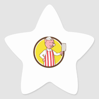 Butcher Pig Holding Meat Cleaver Circle Cartoon Star Sticker