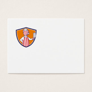 Butcher Pig Holding Meat Cleaver Crest Cartoon Business Card