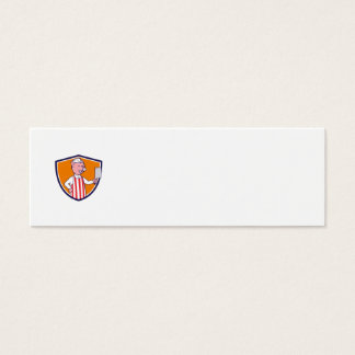 Butcher Pig Holding Meat Cleaver Crest Cartoon Mini Business Card