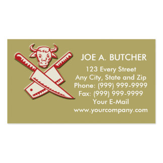 Butcher s knife with cow head business cards